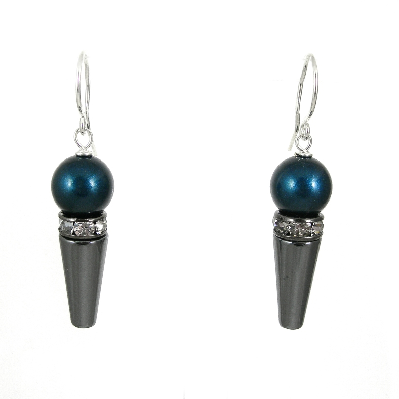 Swarovski pearl, silver and diamante earrings