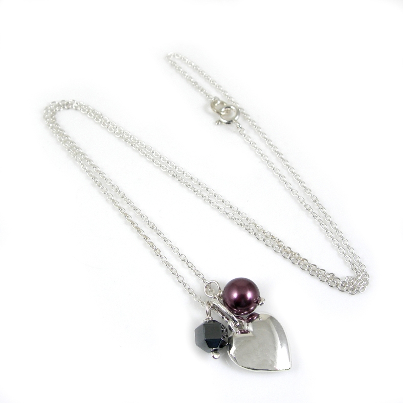 Silver heart necklace with pearls