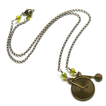 Bicycle Necklace with Olivine faceted beads