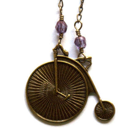 Bicycle Necklace with Purple Iris faceted beads