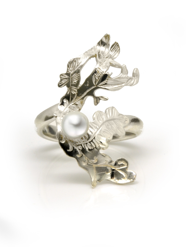 Silver and Dove Grey Pearl dress ring