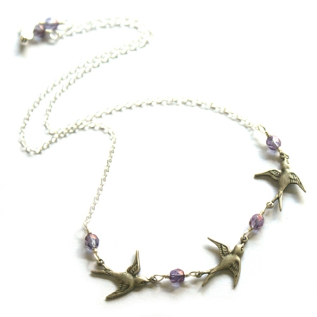 Follow Me Home Necklace with Purple Iris faceted beads
