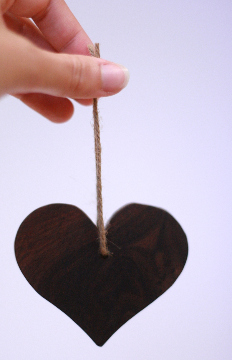 Wooden heart tree decoration