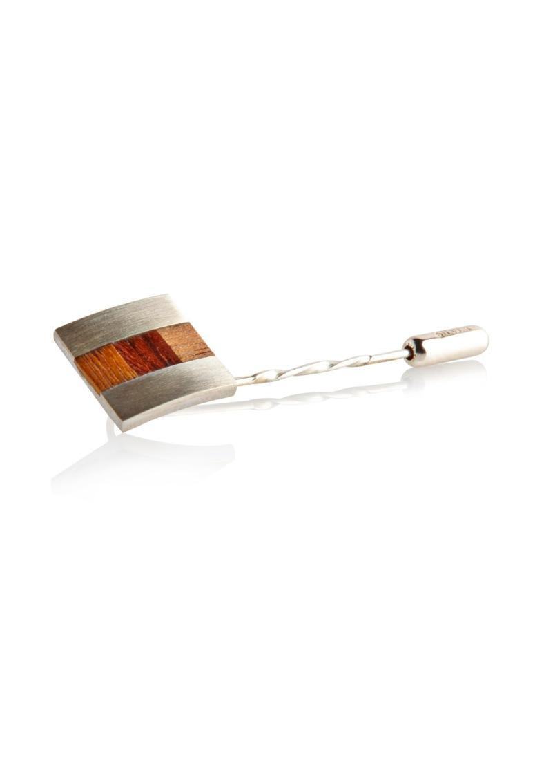 Lapel Pin, silver and veneer - Laura Thomas