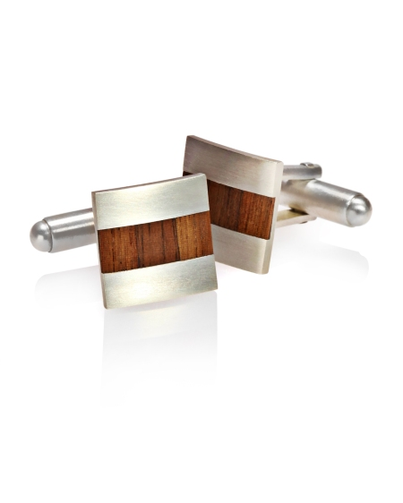 Cufflinks, silver and veneer - Laura Thomas