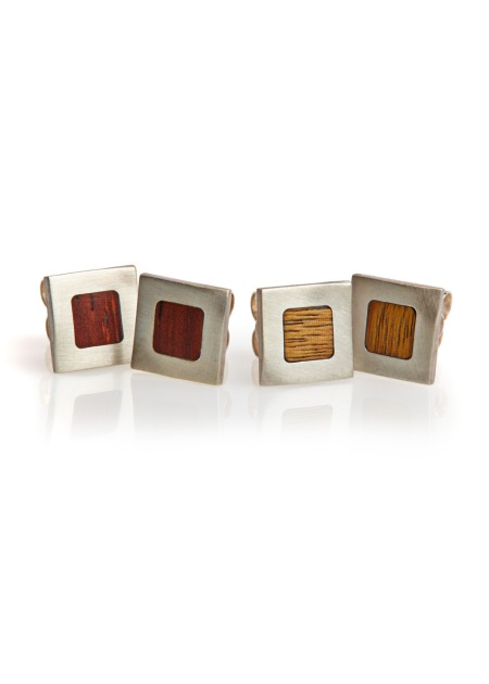 Studs, silver and veneer - Laura Thomas