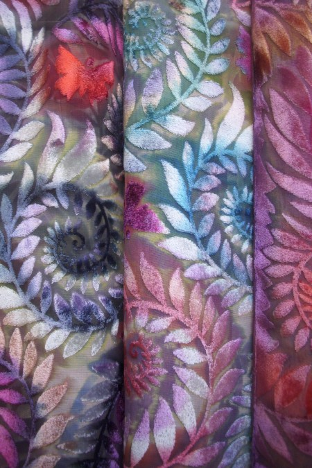 Selection of beautiful devore scarves by Diane Jones