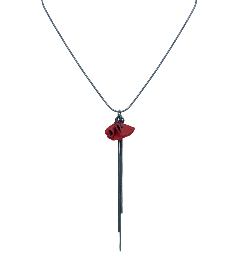 Grace Necklace - oxidised silver and red leather