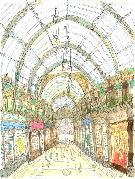 Shop Fronts County Arcade Leeds, limited edition print, Clare Caulfield