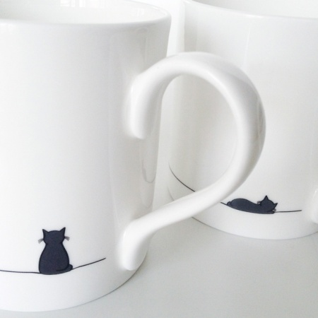 Sitting Cat and Sleeping Cat mugs