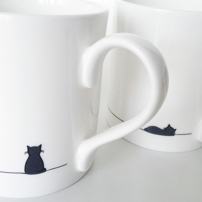 Sitting Cat and Sleeping Cat mugs