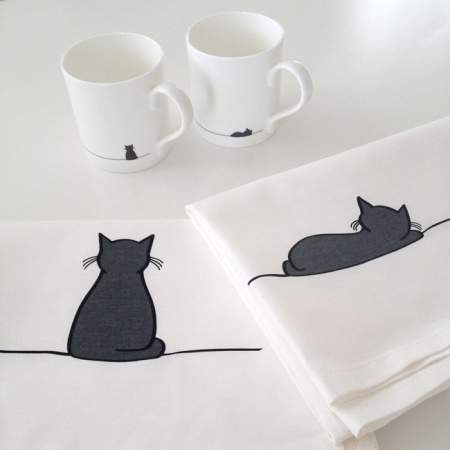 Sleeping Cat and Sitting Cat tea towels