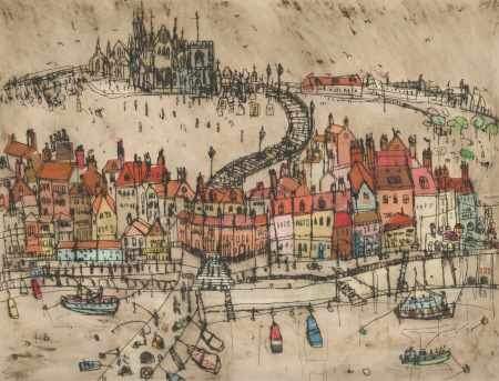 Whitby Harbour, limited edition print, Clare Caulfield