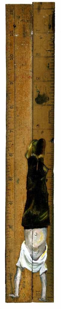 Balance Point - Original oil on vintage rulers by Lindsay Madden
