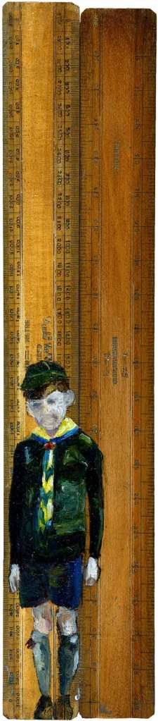Scout Rules - oil on vintage ruler
