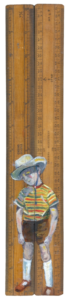 Cowboys - oil on vintage ruler