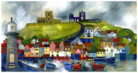 Whitby Harbour, limited edition print by Kate Lycett