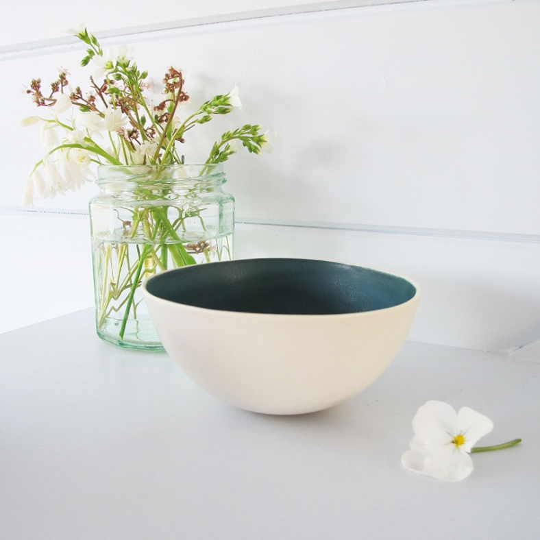 Small Bowl, teal interior