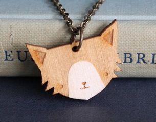 Wooden Cat Necklace