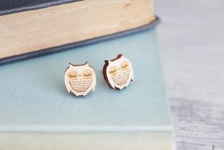Wooden Owl Studs