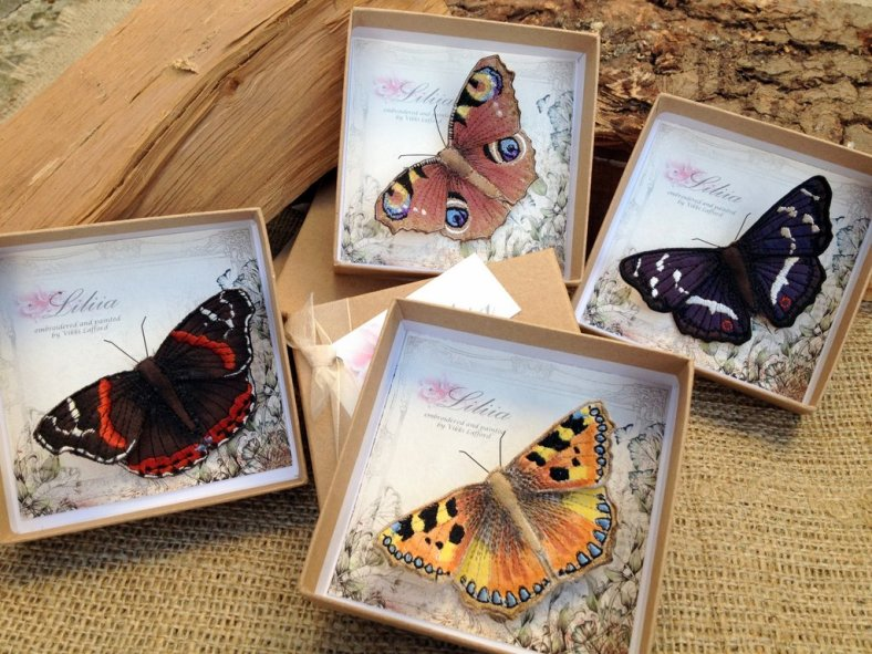 Embroidered British Butterflies