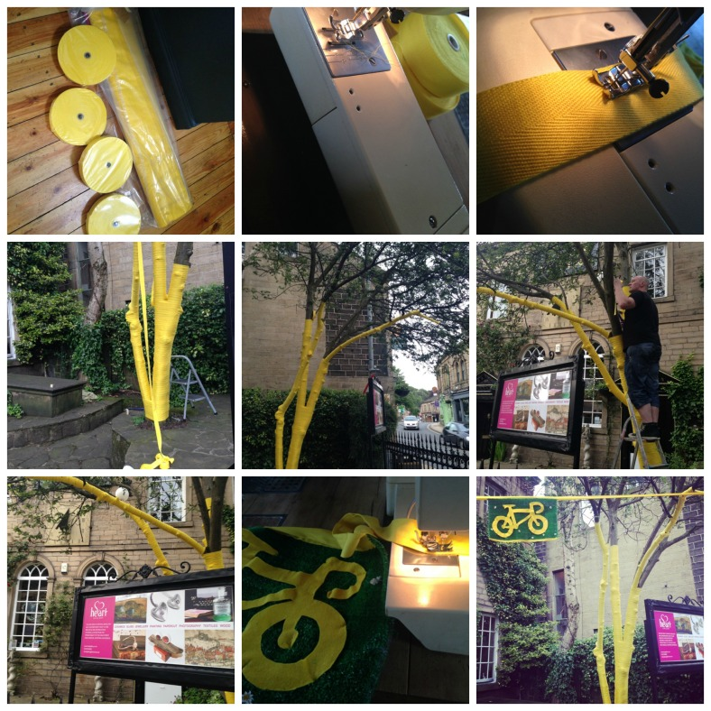 The process it took from buying 200 metres of yellow ribbon to yarnbomb around the silver birch in the garden. Then we had to add some felted yellow cycles to the bunting on green grass to represent Yorkshire in all its glory.