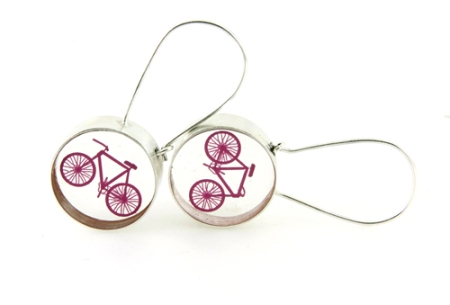 Gypsy hoop earrings with bicycle