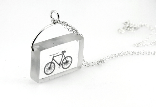 Resin necklace with bicycle