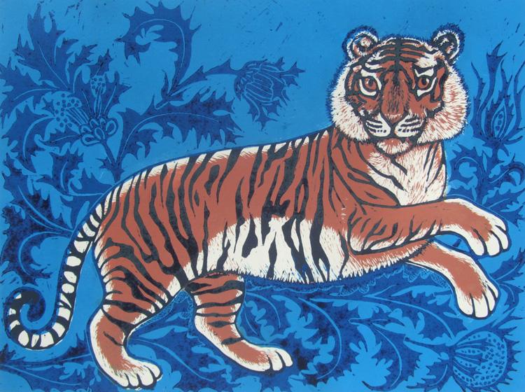 Tipu's Tiger lino print