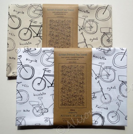 Bike tea towels come in white cotton and unbleached cotton