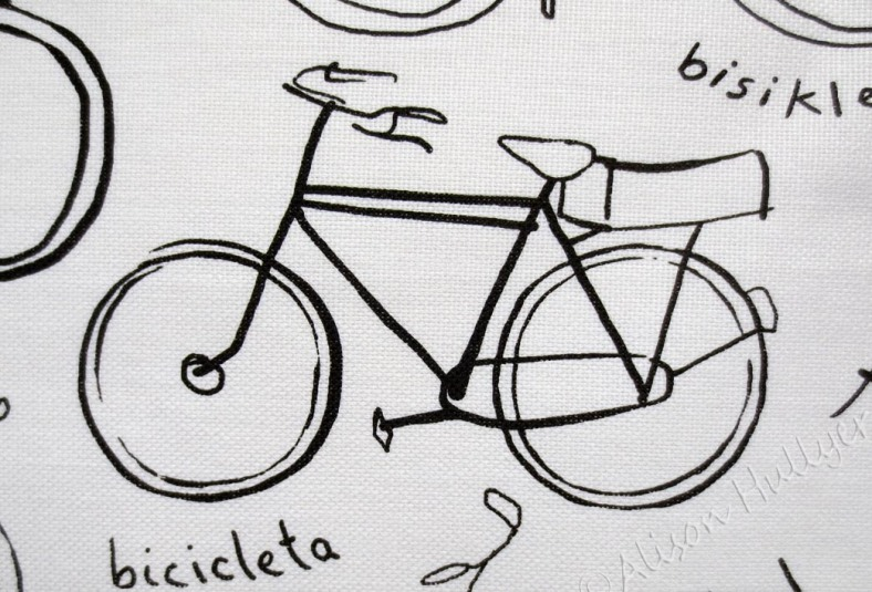 Detail of part of the design on the bike tea towel