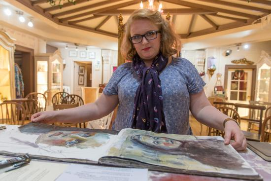 Gillian Lee Smith at Heart Gallery with her sketch books - photo Craig Shaw
