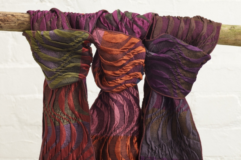 Silk, wool and lycra sculptural scarves by Sally Weatherill