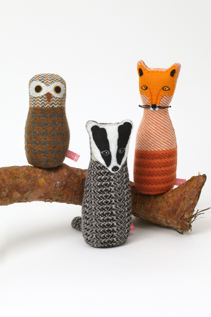 Lavender-filled fox, badger and owl - hand woven