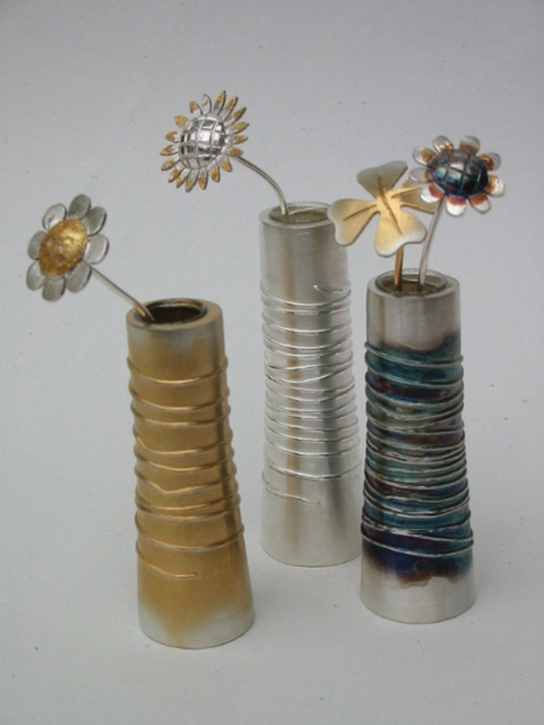 Mini vases in mixed metals  - Adele Taylor