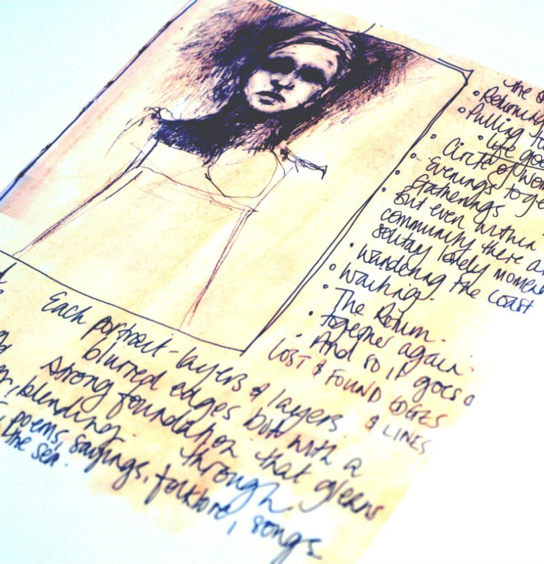 Sketches and text in Gillian's book
