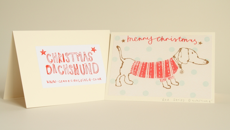 Christmas Dachshund by Clare Caulfield