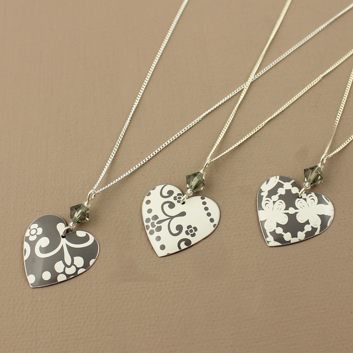 New grey lace effect heart necklaces