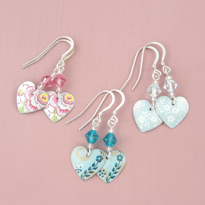 Heart and bead drop earrings