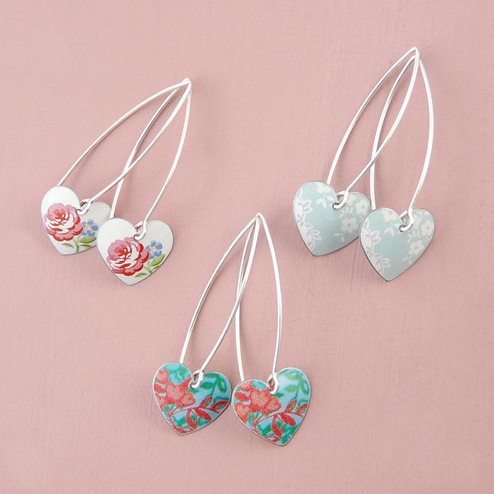 Heart earrings on long ear wires