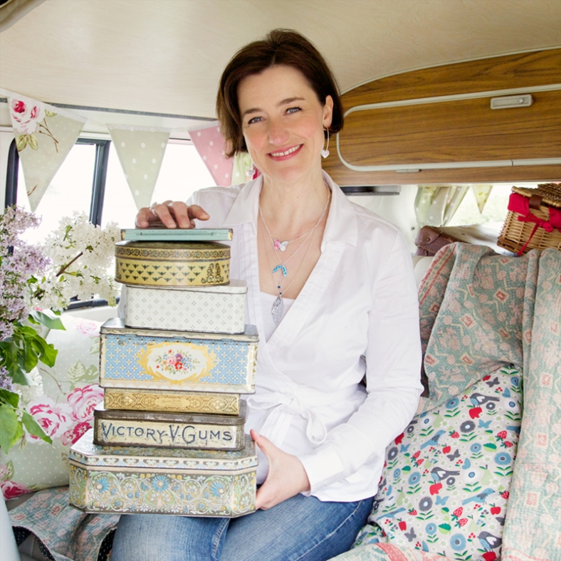 Kate with a selection of tins she recycles into stunning jewellery