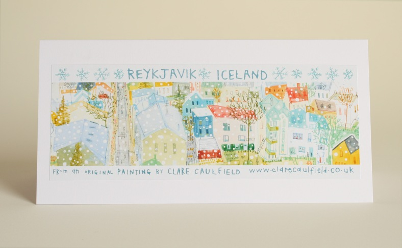 Back of Clare Caulfield's Snowy Reykjavik's card