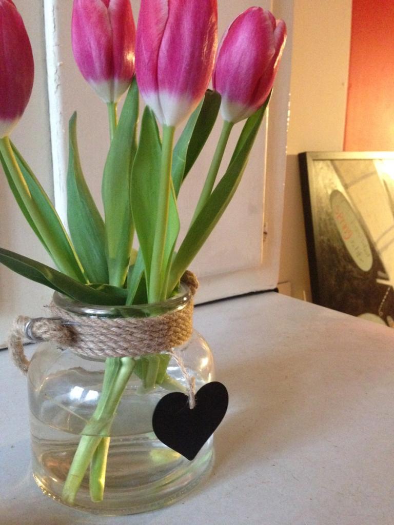 Angela always has fresh flowers in her studio