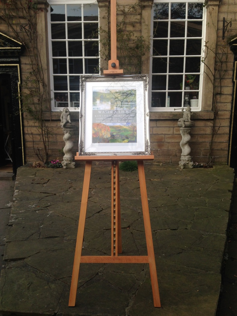 Our easel with the Preview poster letting visitors know the launch was at 6pm