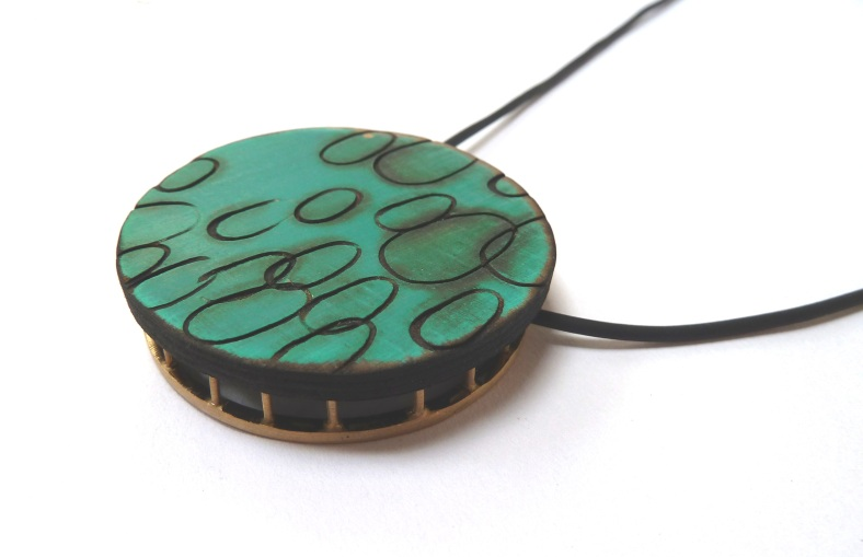 Blue wooden pendant - Kelly Munro