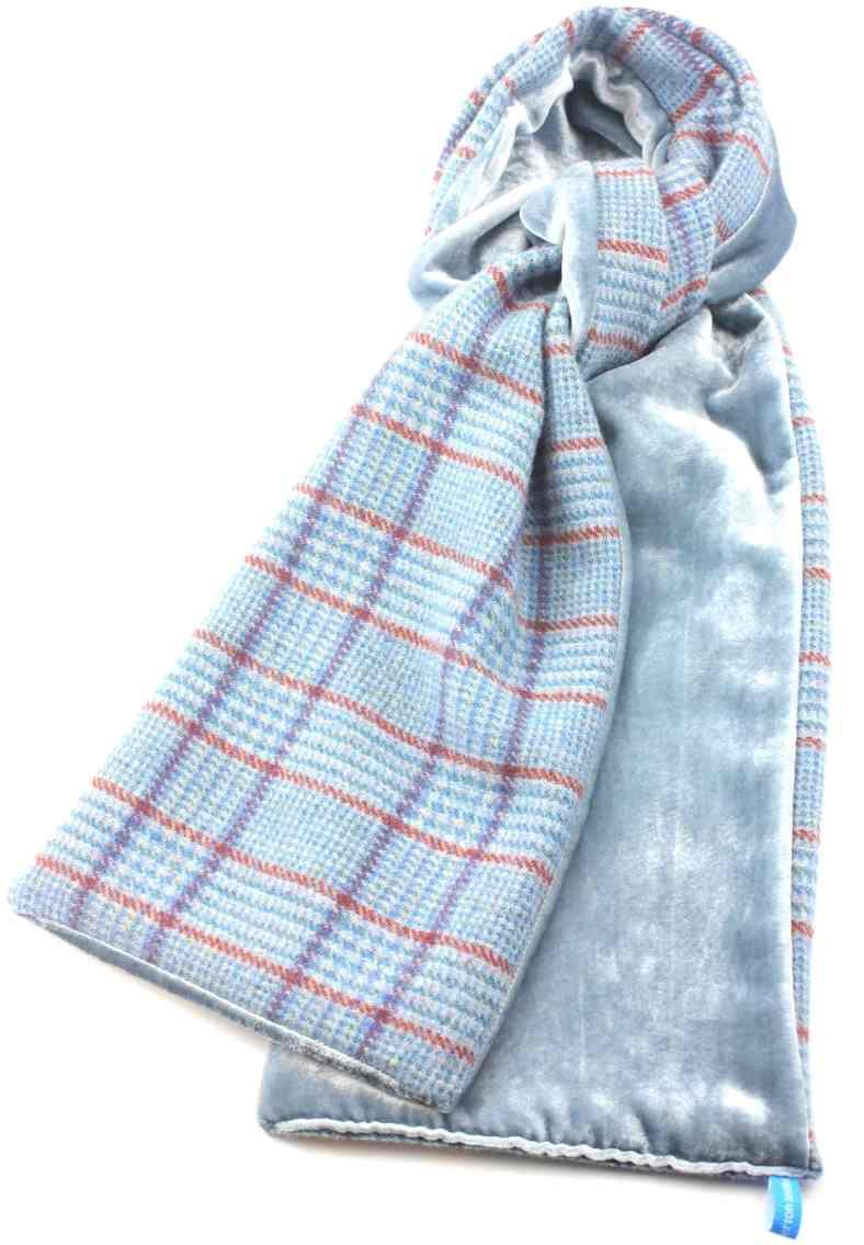 Shetland Tweed and Velvet skinny scarf