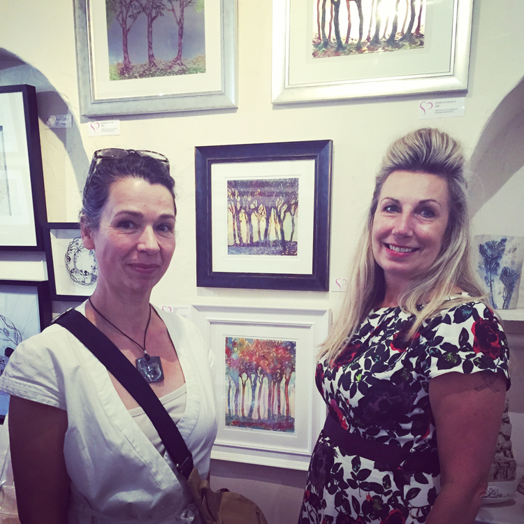 Louise Jannetta with myself in front of her collagraph plates and prints