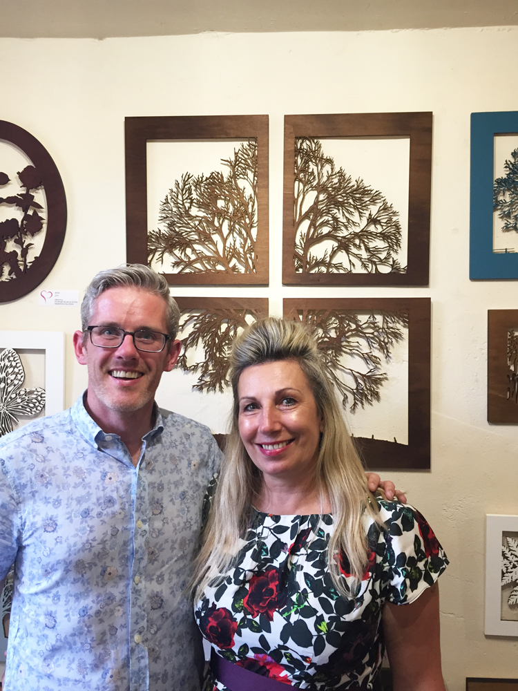 Stewart Morton and I with his lasercut wooden wall pieces inspired by his own photography