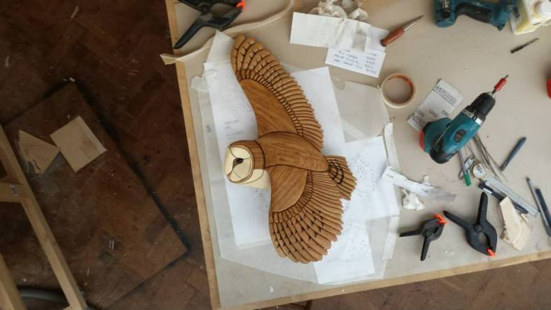 Finished life size Barn Owl on Tom's bench in his workshop