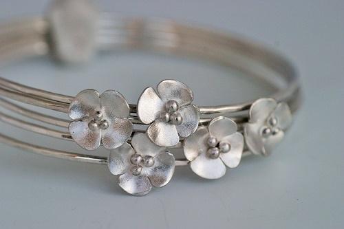 Silver blossom bangles